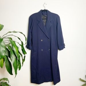Vintage┃Long Double Breasted Blue Pure Wool Coat